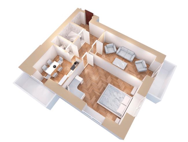 ЖК Янтарний: планування 2-кімнатної квартири 68.1 м2, тип 2А