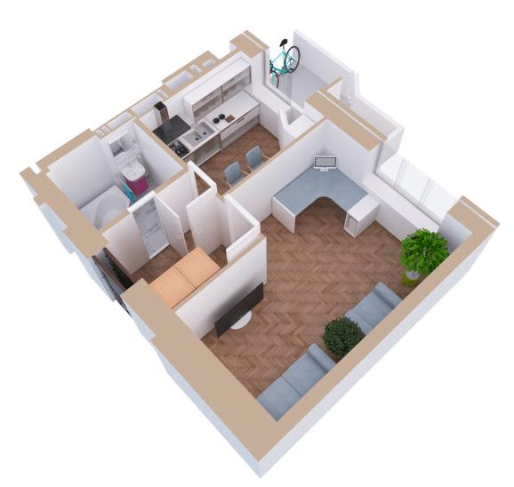 ЖК Янтарний: планування 1-кімнатної квартири 36.8 м2, тип 1Е