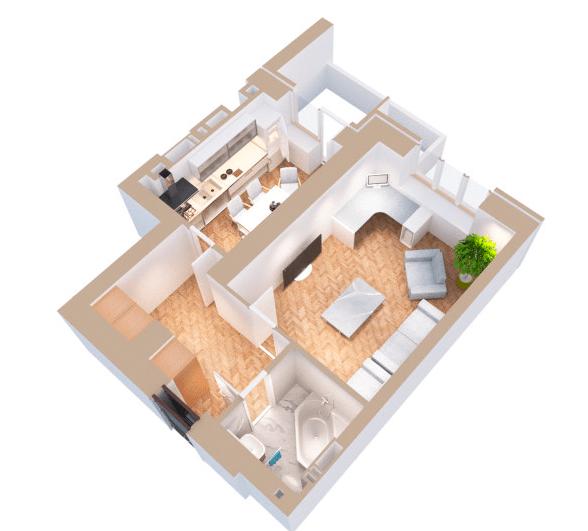 ЖК Янтарний: планування 1-кімнатної квартири 40.6 м2, тип 1Е