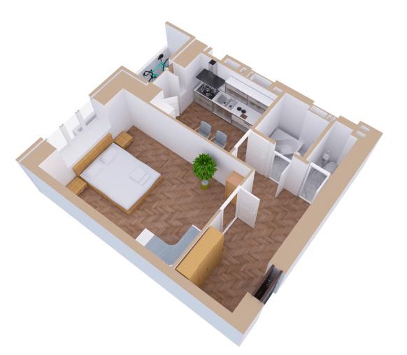 ЖК Янтарний: планування 1-кімнатної квартири 44.6 м2, тип 1В