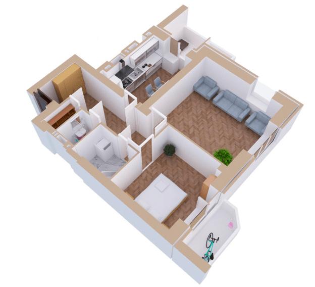 ЖК Янтарний: планування 2-кімнатної квартири 64.7 м2, тип 2Г