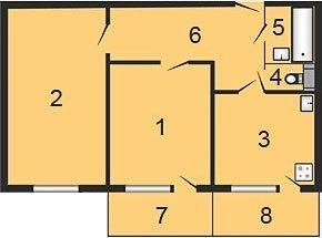 ул. Октябрьская, 34б: планировка 2-комнатной квартиры 60.26 м2, тип 2-60.26