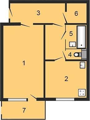 вул. Жовтнева, 34б: планування 1-кімнатної квартири 47.28 м2, тип 1-47.28