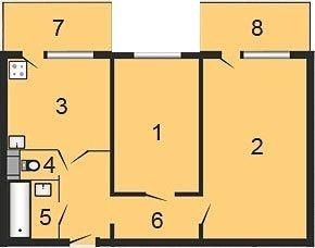 ул. Октябрьская, 34б: планировка 2-комнатной квартиры 56.81 м2, тип 2-56.81