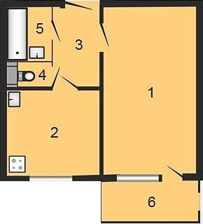 ул. Октябрьская, 34б: планировка 1-комнатной квартиры 38.32 м2, тип 1-38.32