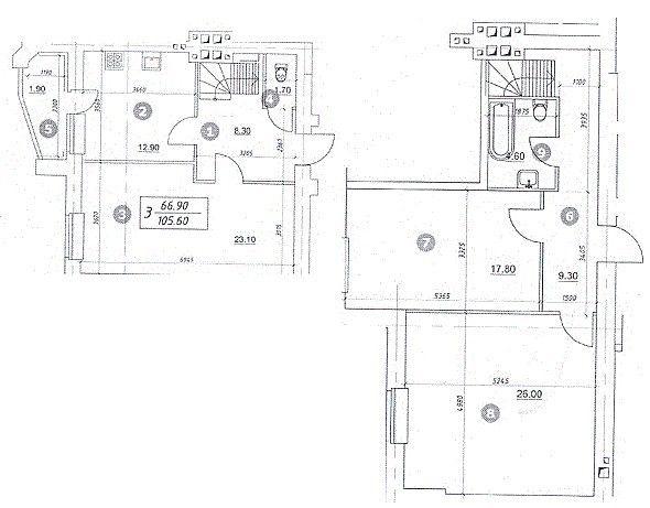 ЖК Уюткино: планировка двухуровневой квартиры 105.6 м2, тип 3-105.60