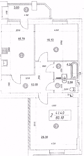 ЖК Уюткино: планировка 2-комнатной квартиры 80.1 м2, тип 2-80.10