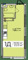ЖК Східна Брама: планування 1-кімнатної квартири 23.13 м2, тип 1Д