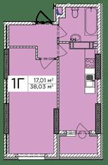 ЖК Східна Брама: планування 1-кімнатної квартири 38.03 м2, тип 1Г