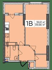 ЖК Східна Брама: планування 1-кімнатної квартири 39.66 м2, тип 1В