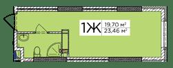 ЖК Східна Брама: планування 1-кімнатної квартири 23.46 м2, тип 1Ж