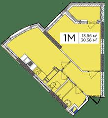 ЖК Східна Брама: планування 1-кімнатної квартири 38.56 м2, тип 1М