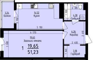 ЖК Plus: планировка 1-комнатной квартиры 51.23 м2, тип 1-51.23
