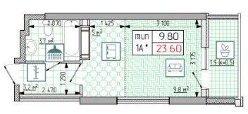 ЖК Східна Брама: планування 1-кімнатної квартири 23.6 м2, тип 1А*