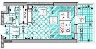 ЖК Східна Брама: планування 1-кімнатної квартири 17.86 м2, тип 1Б*