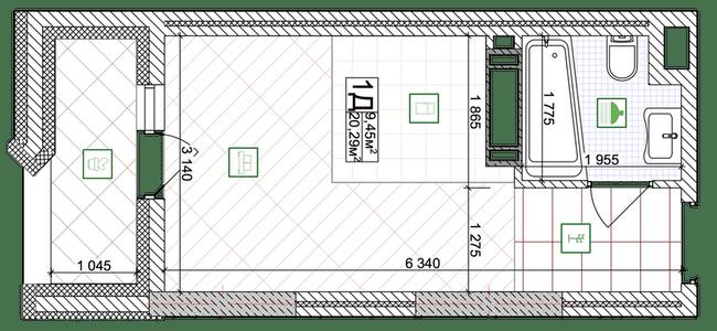 ЖК Східна Брама: планування 1-кімнатної квартири 20.29 м2, тип 1Д
