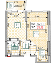 ЖК Східна Брама: планування 1-кімнатної квартири 35.18 м2, тип 1В*