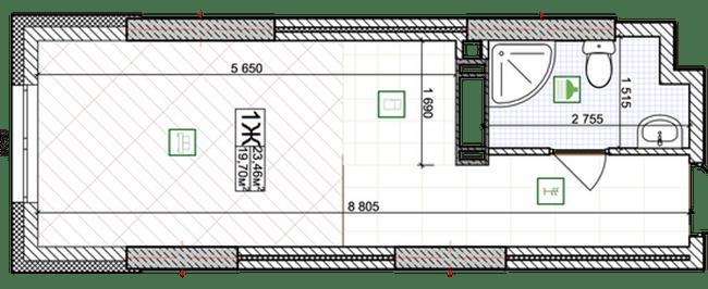 ЖК Східна Брама: планування 1-кімнатної квартири 19.7 м2, тип 1Ж