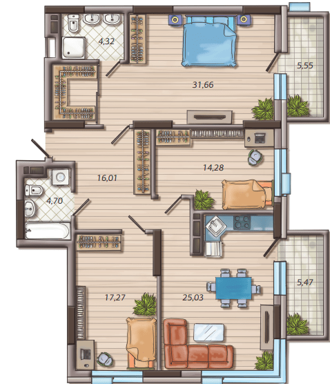 ЖК Французький квартал 2: планування 3-кімнатної квартири 116.57 м2, тип 3B