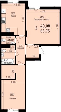 ЖК Plus: планировка 2-комнатной квартиры 65.75 м2, тип 2-65.75