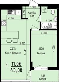 ЖК Plus: планування 1-кімнатної квартири 43.88 м2, тип 1-43.88