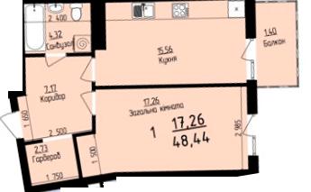ЖК Plus: планировка 1-комнатной квартиры 48.44 м2, тип 1-48.44