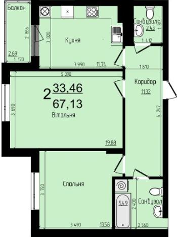 ЖК Plus: планування 2-кімнатної квартири 67.13 м2, тип 2-67.13