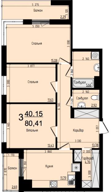 ЖК Plus: планування 3-кімнатної квартири 80.41 м2, тип 3-80.41