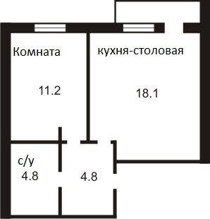 ЖК Петровский дворик: планировка 1-комнатной квартиры 35.4 м2, тип 1-35.4