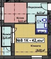 ЖК Мінеральний 39: планування 1-кімнатної квартири 42.4 м2, тип 1-42.40