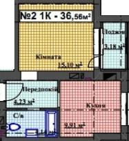 ЖК Мінеральний 39: планування 1-кімнатної квартири 36.56 м2, тип 1-36.56