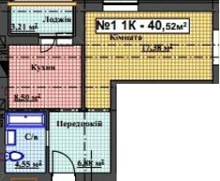 ЖК Мінеральний 39: планування 1-кімнатної квартири 40.52 м2, тип 1-40.52