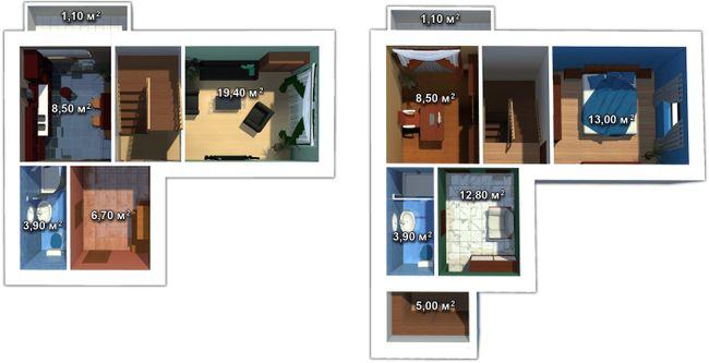 ул. Мечникова, 103: планировка двухуровневой квартиры 153 м2, тип 3-153