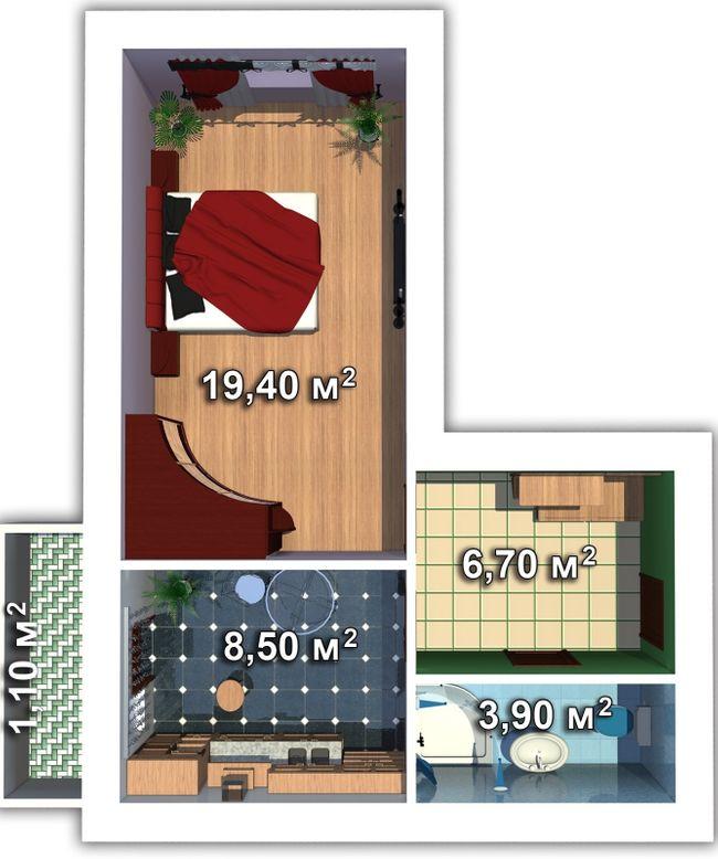 вул. Мечникова, 103: планування 1-кімнатної квартири 38 м2, тип 1-38