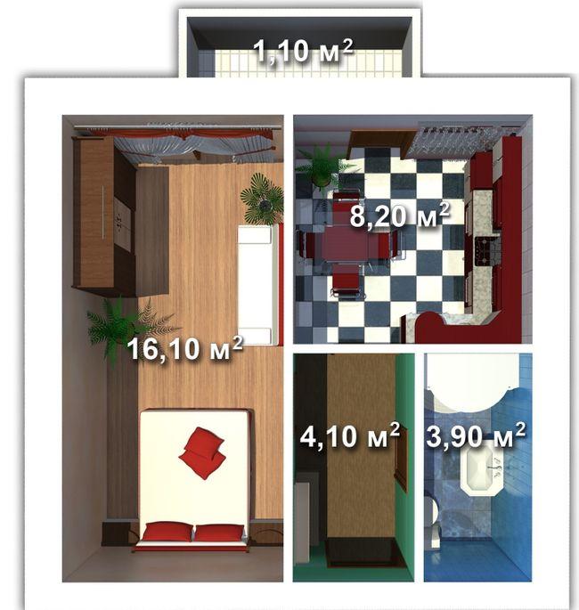 вул. Мечникова, 103: планування 1-кімнатної квартири 32 м2, тип 1-32