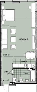 ЖК Берестейський: планування 1-кімнатної квартири 63.73 м2, тип 1-63.73