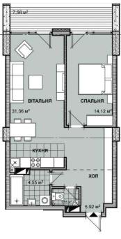 ЖК Берестейський: планування 1-кімнатної квартири 61.28 м2, тип 2-61.28