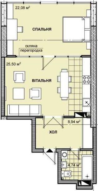 ЖК Берестейський: планування 1-кімнатної квартири 61.26 м2, тип 1-61.26