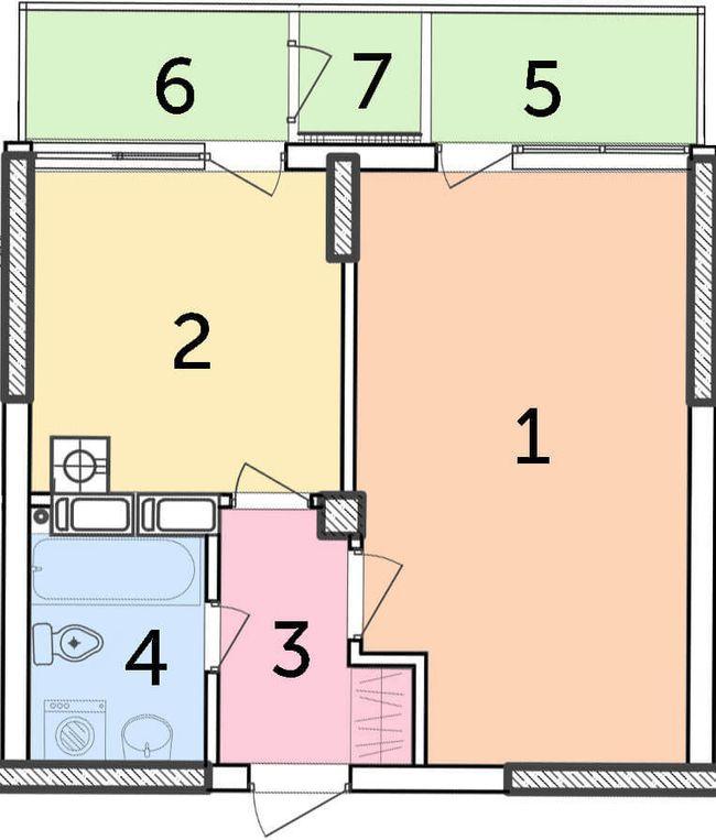 ЖК Парковый: планировка 1-комнатной квартиры 42.11 м2, тип 1-42.11