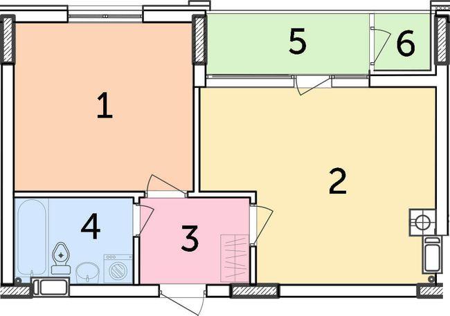 ЖК Парковый: планировка 1-комнатной квартиры 45.12 м2, тип 1-45.12