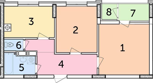 ЖК Парковий: планування 2-кімнатної квартири 52.5 м2, тип 2-52.50