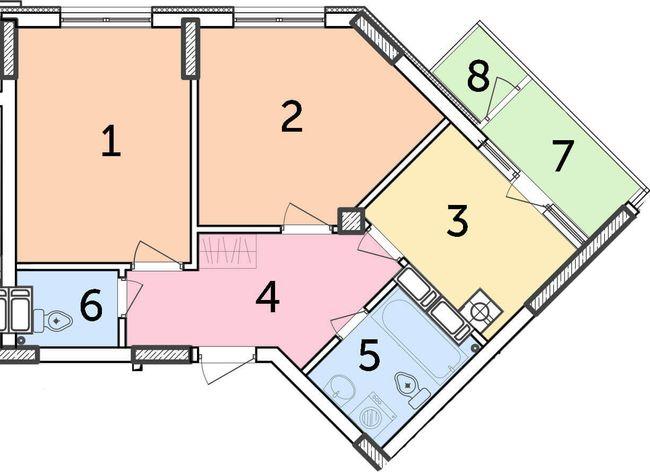 ЖК Парковий: планування 2-кімнатної квартири 48.2 м2, тип 2-48.20