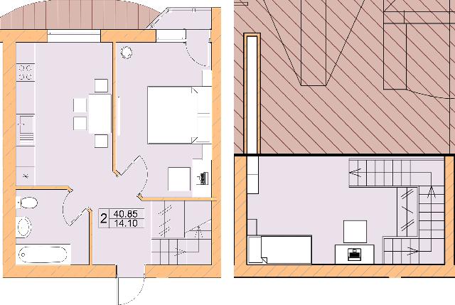 ЖК Ваша квартира: планировка двухуровневой квартиры 40.85 м2, тип 2-40.85