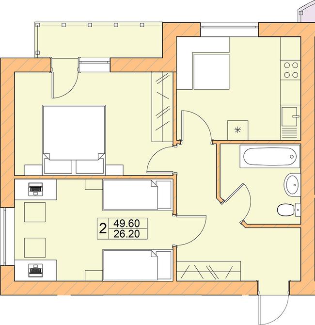 ЖК Ваша квартира: планировка 2-комнатной квартиры 49.6 м2, тип 2-49.60