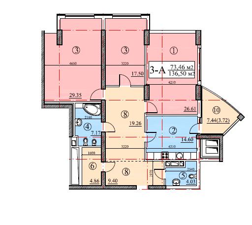 ЖК Покровский посад: планировка 3-комнатной квартиры 136.5 м2, тип 3А