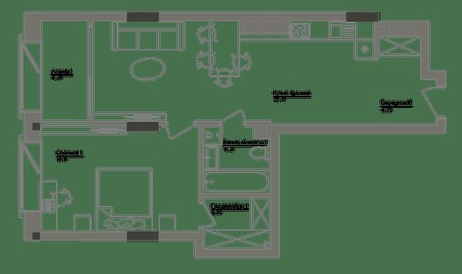 ЖК Washington Concept House: планування 1-кімнатної квартири 60.18 м2, тип 1-60.18