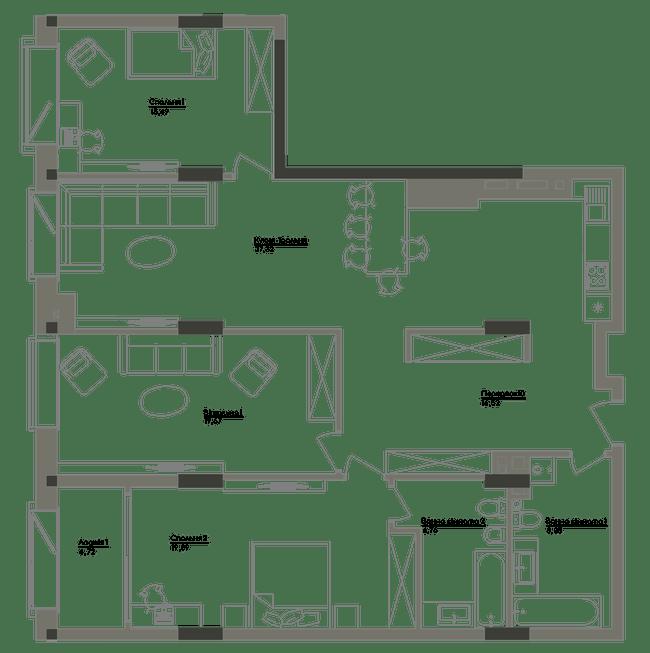 ЖК Washington Concept House: планування 3-кімнатної квартири 128.42 м2, тип 3-128.42