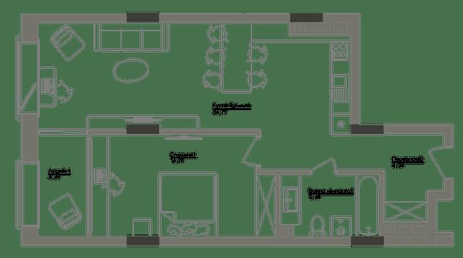 ЖК Washington Concept House: планування 1-кімнатної квартири 66.12 м2, тип 1-66.12