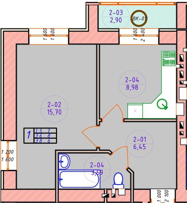ЖК Ваш Добробут: планировка 1-комнатной квартиры 38.6 м2, тип 1-38.6
