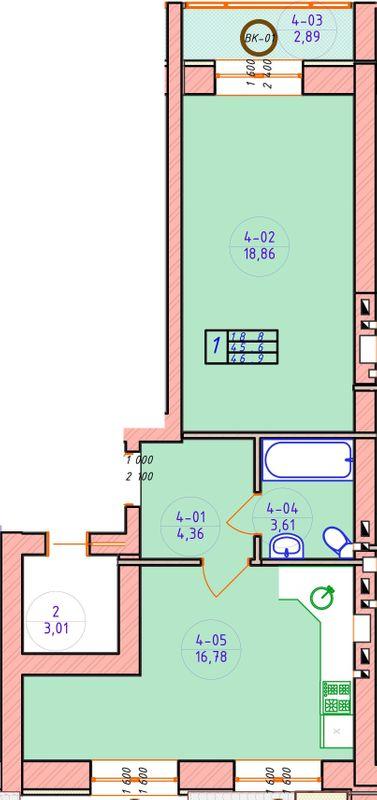 ЖК Ваш Добробут: планування 1-кімнатної квартири 46.9 м2, тип 1-46.9